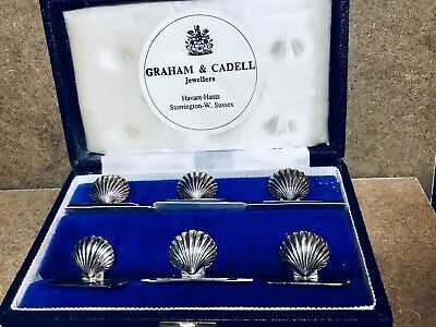 Antique Clam Shell Sterling Place Card Holders With Silver Hallmark No RESERVE