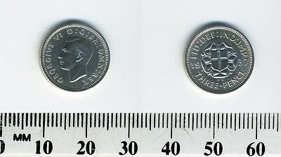 Great Britain 1937 - 3 Pence Silver Coin - George VI - St. George shield