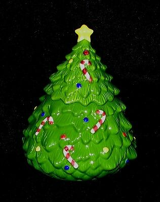 Christmas Tree Cookie Jar - Candy Cane and Colored Ornaments EUC
