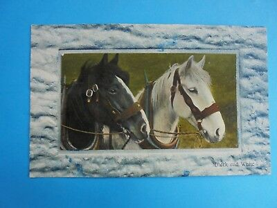DRAUGHT HORSES BLACK AND WHITE c1910 REAL PHOTO POST CARD UNUSED