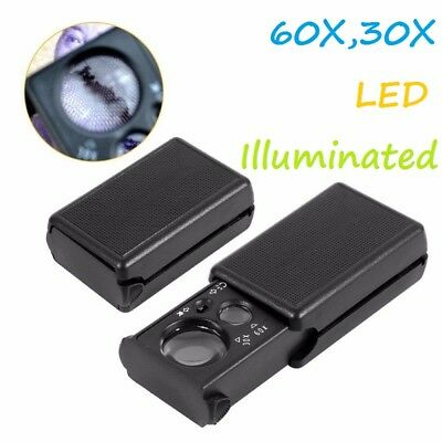 30X/60X Magnifier LED Light Jeweller Antique Eye Magnifying Optical Glass Loupe