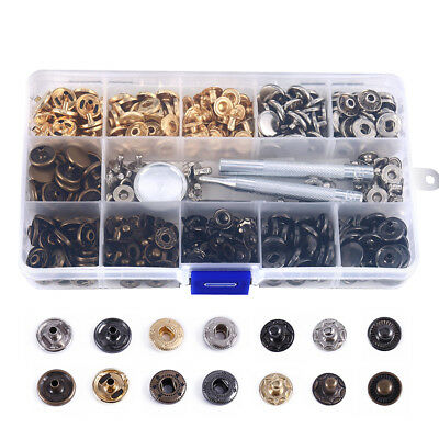 100 Pcs DIY Leather Craft Snap Fasteners Snaps Buttons Press Studs Fixing Tool