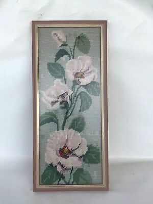 Vintage framed sturts desert rose Australian wildflower tapestry needlepoint