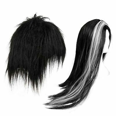 Adult Halloween Vampire Wig Dracula Witch Long Black Gothic Fancy Dress Costume