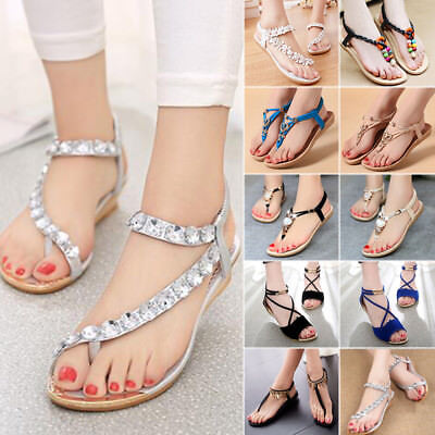 Bohemia Women Flat Gladiator Thong Sandals Summer Beach Clip Toe Shoes Flip Flop