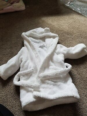 Little White Company white bear ears baby dressing gown robe 6-12 months