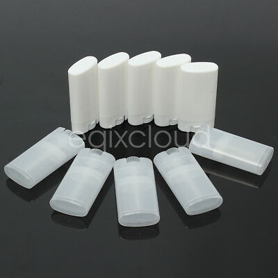 Bulk 15g 1/2oz Clear/White Empty Oval Flat Tubes Deodorant Lip Balm Containers