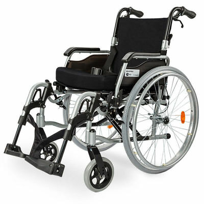 """#EQUIPMED 24"""" Folding Wheelchair Alloy with Brakes Folding Armrests for Dining"""