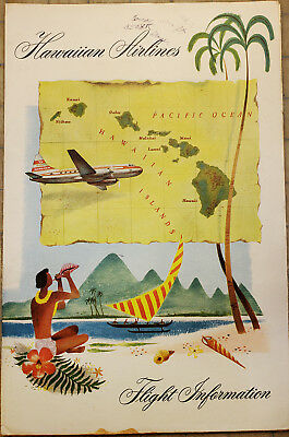 ORIGINAL Vintage HAWAIIAN AIRLINE Folding Cover 6.5 X 10 inches ISLAND MAP Shell