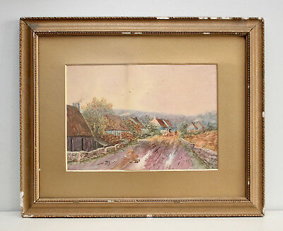 A Fine Antique Watercolour, Devon Long Cottages, circa 1920.