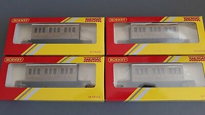 Hornby R4674 Lner Teak 4-Wheel Coaches X 4 Very Good Cond Boxed Ho Gauge(Gn)