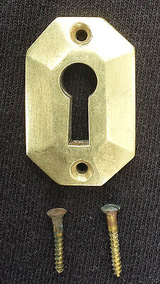 "35avail 1""x1.5"" Clean Antique Vintage Solid Cast Brass Door Key Hole Cover Plate"