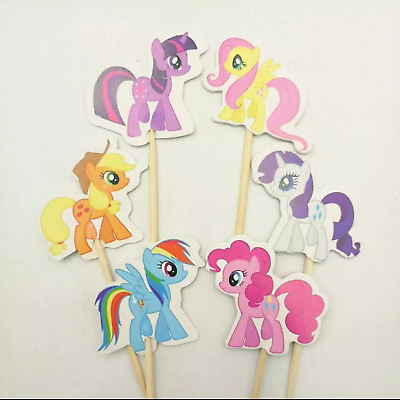 My Little Pony 24 Cupcake Muffin Kuchen Toppers Käse-Picks Dekoration geburtstag