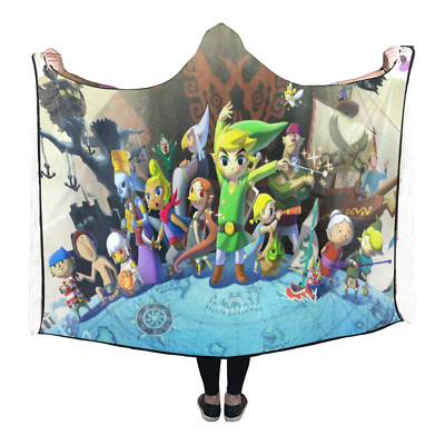 New Arrival Custom Legend of Zelda Wearable Durable Hooded Blanket 80x53 inch