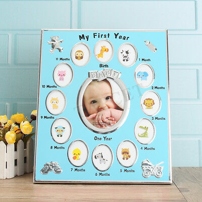 My First Year Silver Plated Multi Photo Picture Frame Newborn Baby Gift