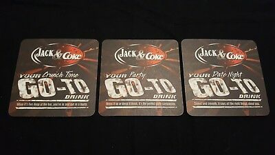 3 Jack Daniels Tennessee Whiskey Coca Cola Beer Coasters