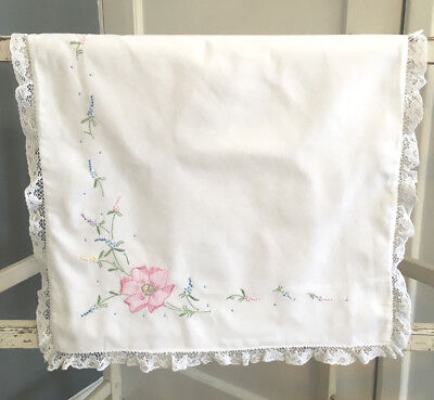Vintage baby's white lacy pillow case embroidered small baby gift
