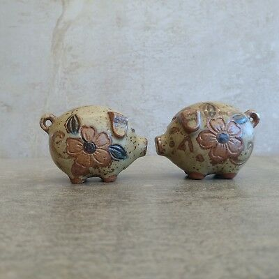 Vintage Salt and Pepper Shakers Cute Pigs with Flowers Gempo Style Terracotta