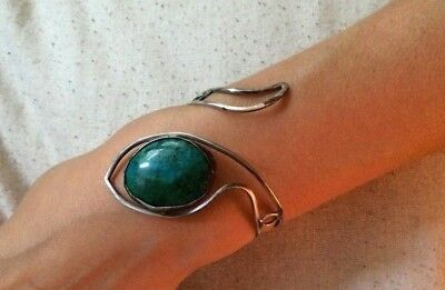 Antique RUSSIAN 84 Silver SNAKE Bracelet with Malachite stone, imperial period