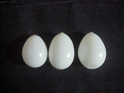 3 Antique hand blown Glass SMALL BANTY EGGS  for RACING PIGEONS NEST
