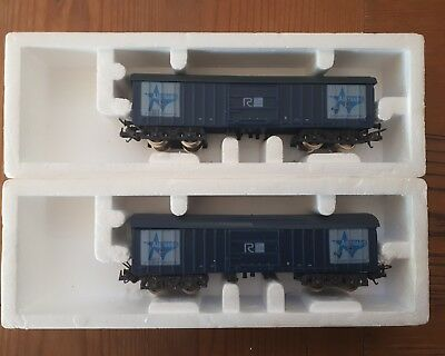 """2 x Lima Australian wagons with opening top. """"All Trans"""" HO scale. Boxed"""