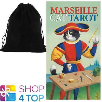 Marseille Cat Tarot Deck Cards Esoteric Telling Lo Scarabeo With Velvet Bag New