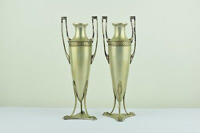 Silver plated pair of matching Art Nouveau vases c.1910 in Empire style by WMF