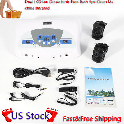 2 Ionic Detox Ion Foot Spa Bath Ion Cell Cleanse Machine+Infrared Wrist Band NEW