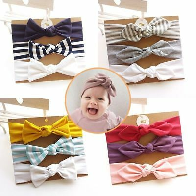 3pcs/Set Cute Kid Baby Toddler Girls Bow Headband Hair Band Accessories Headwear