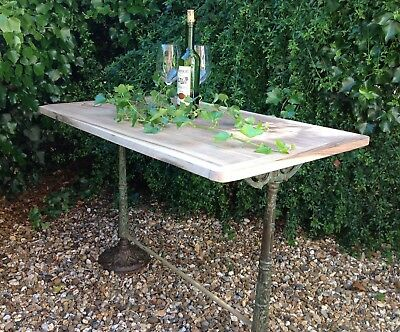 French 19th Century Castings Bistro Table with walnut top and Original Paint.