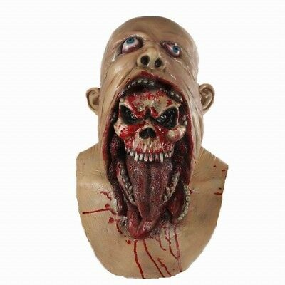 Bloody Zombie Mask Melting Face Latex Costume Dead Halloween Scary Head Masks