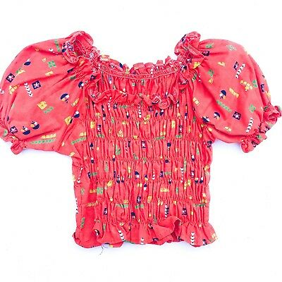 Vintage Kids French 70s Cotton Ethnic Boho Bardot Floral Red Hippy Top 4-5-6 Y