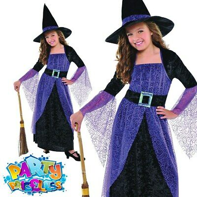 Deluxe Emerald Witch Girls Fancy Dress Halloween Childrens Kids Witches Costume