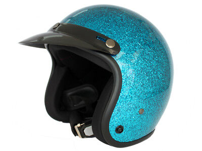 HTH 805G Open Face Helmet Motorcycle scooter Metal Flake Blue