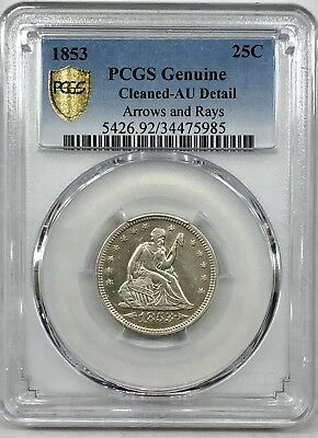 1853 25C Arrows and Rays Liberty Seated Quarter PCGS AU Details (cleaned)