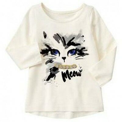 Gymboree 2T 12-18 Months Cat Gem Top CATASTIC Kitty Meow Ivory Long Sleeve Girls