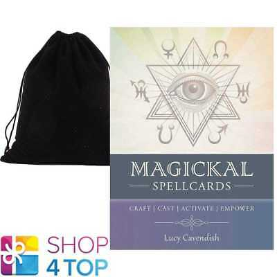Magickal Spellcards Cards Deck Spells Esoteric Telling Blue Angel Velvet Bag New