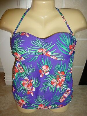 Old Navy Maternity Swim Suit Purple Small 4 6 Halter Bandeau Tankini Bikini New