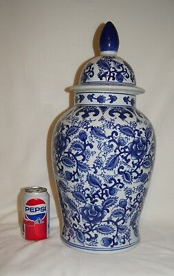 Large Blue And White Chinese Temple Jar With Cover