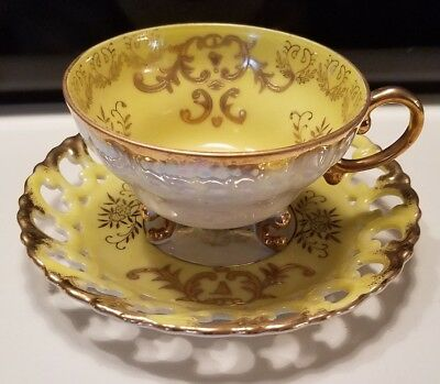 "Royal Sealy China Luster Ware Tea cup 2.5 ""h, 4""w & Reticulated  Saucer 6""w"