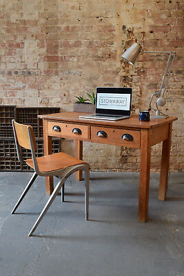 Vintage Oak Two Drawer Desk Teachers Industrial Writing Desk CAN DELIVER
