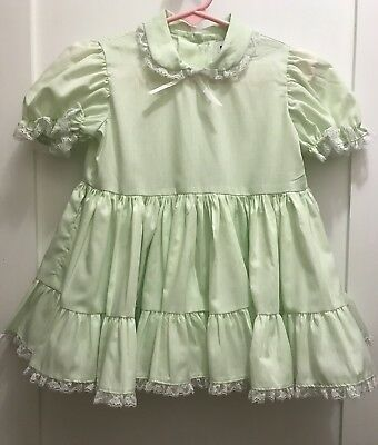 Vintage Green Ruffled Dress Size 2t By Kathleen Scott