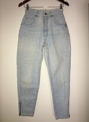 "VTG Lee Women's 10 Mom Jeans Light Wash Tapered Zip Ankles 12"" High Rise"