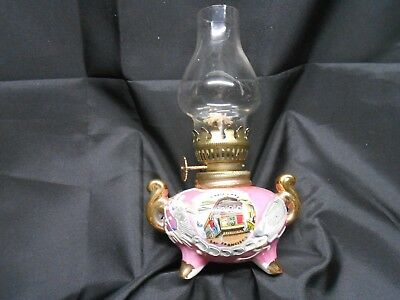 Dragonware Light Pink Lusterware Moriage Miniature Oil Lamp