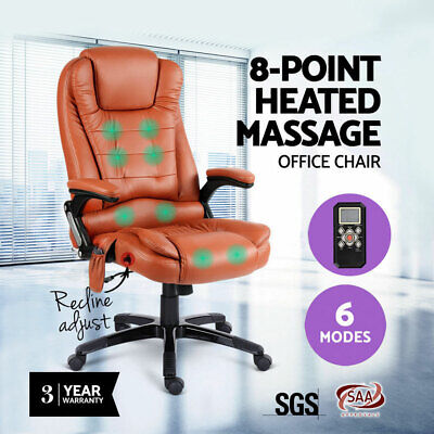8 Point Heat Massage PU Leather Executive Office Computer Chair Ergonomic Swivel