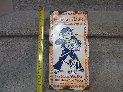 A++ RARE 1930's-1940 CRACKER JACK CANDY BOX -NUTS PORCELAIN ADVERTISING SIGN