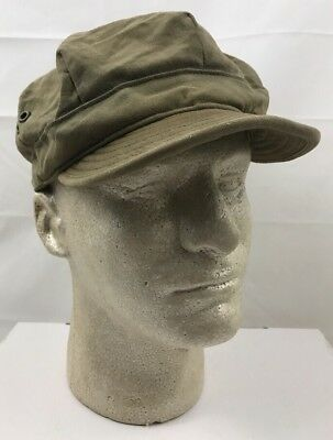 Original WW2 U.S. Army HBT Short Bill Visor Utility Field Cap NAMED Sz 7 1/4