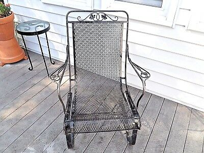 Vintage Wrought Iron Outdoor Patio Deck Spring Chair Salterini