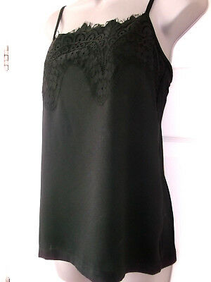BLACK EX M&S CAMISOLE+ LACY FRONT ,TOP,VEST,CAMI. sizes 10, 12, 14, FAST POSTAGE