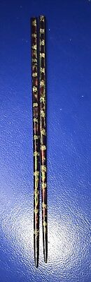 Antique Mongolian Chinese Lacquered Gold Jade Chopstick Set